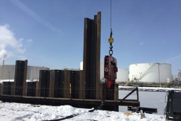 Steel sheet piles reinforce Pier 12 at the Port of Hamilton